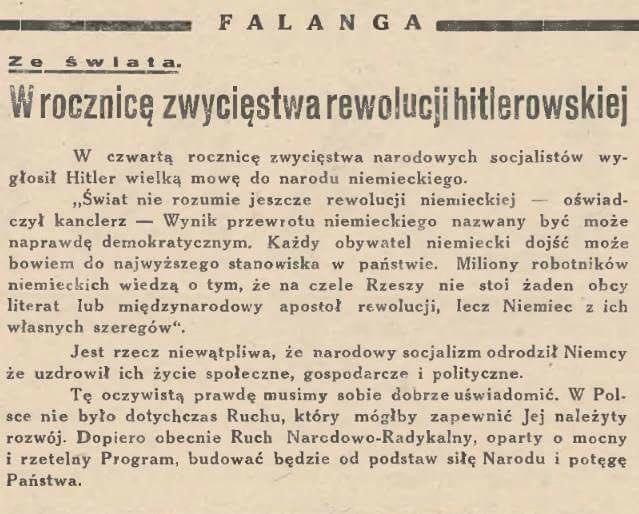 ONR popiera Hitlera